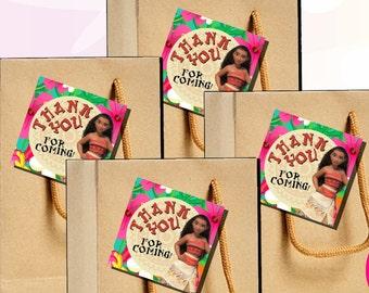 Moana Thank You Tags Digital Download Printable Moana Party Supplies