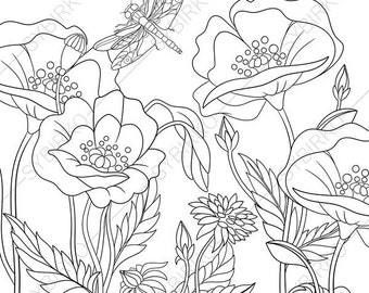 dragonfly and poppy flowers 3 coloring pages animal coloring book pages for adults - Poppy Flower Coloring Pages
