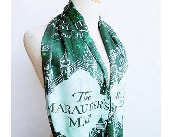 Marauder's Map Harry Potter Scarf - Slytherin Green