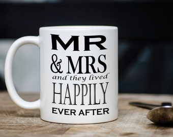 Mr and Mrs mug, Mr and Mrs wedding gift, married gift, married mug, Happily married, wedding shower gift, gift for newlywed, mugs for couple