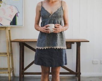 Crushed linen Cami. Women's spaghetti strap camisole with hand crocheted linen lace edging.