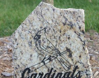 St Louis Cardinals Etched Granite garden stone