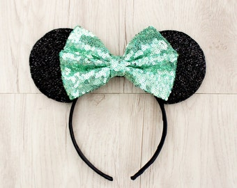 Minnie Mouse Ears, Mickey Mouse Ears, Minnie Ears, Mickey Ears, Disney Ears, Mint Green Sequin Bow, Disneyland Ears, Green Disneyland Ears