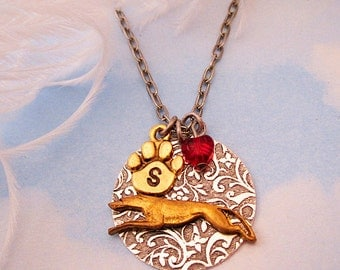 GREYHOUND NECKLACE. Valentine's Day Jewelry. Whippet Gifts for Women Dog Lovers. Personalized Pendant with Initial & Birthstone. Silver Gold
