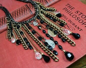 Saint Anastasia - Vintage Rosary, Chain and Swarovski Crystal Necklace