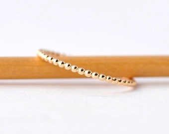 Thin Beaded Ring: Simple 14K Gold Bands