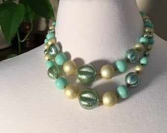 Multi Strand Green Necklace, 1950s Made in Japan, Hook Clasp, Vintage Beads, Graduated Beads, Green Foil Luster, Costume Jewelry Choker