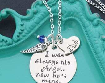 Dad Memorial Gift • I Was Always His Angel • Father Loss Gift • Condolence Gifts Dad Remembrance Gift • Personalized Memorial Necklace