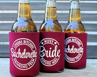 Bachelorette Party Can Coolers, Cheers Bitches, Future Mrs., Bachelorette Drinking Team, Bachelorette Party Favors, Maroon, Dark Red