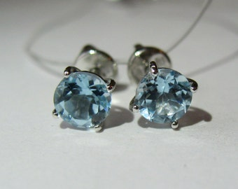 Natural Blue Topaz In Sterling Silver Stud Screw Back Earrings, 5ct.