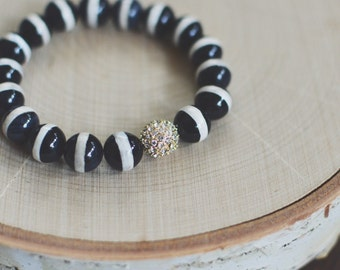 Black & Cream Stripe Gemstone Bracelet // Stretch Bracelet // Gold Crystal Pave Bead
