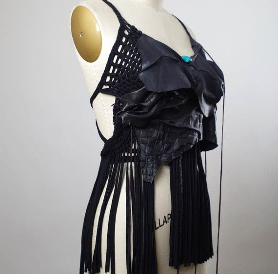 Fringe Leather Top - Festival Clothing - Halter Tops - Burning Man Clothing - Gypsy Wrap Skirt - Burning Man