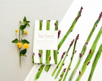Vegetable print Tea towel, watercolor art, asparagus, original painting, kitchen linens, dish towel, housewarming, wedding gift, for her
