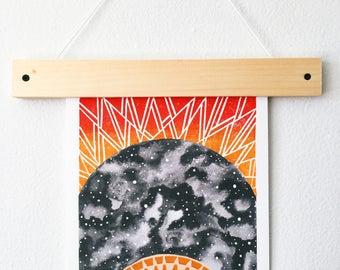 Rising Sun Art Print - Block Print - Watercolor Art