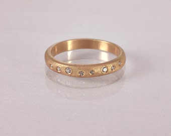 Bezel Set Diamond  Ring, Matte gold Wedding Band, Bark Gold Ring, vintage  unique diamond wedding ring, gold diamond engagement ring