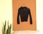 VNTG black mesh zip up hoodie 90s health goth