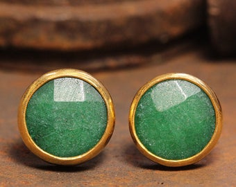 Handcrafted Artisan 24K Yellow Gold over 925 Sterling Silver Natural Gemstone Green Jade Ancient Roman Byzantium Art Designer Stud Earrings