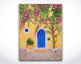 Blue Door - ORIGINAL Abstract Mediterranean Cityscape Art Palette Knife Textured Impasto Oil Painting 12x16 Canvas by Denisa Laura