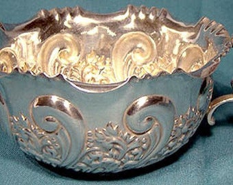 English Sterling Silver Ornate Cream Milk Jug Sheffield 1899