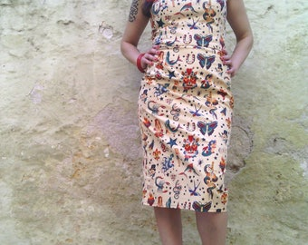 Tattoo Print Dress In Cream, Strapless Printed Dress, Tattoo Cotton Fitted Dress, Alexander Henry Tattoo Fabric, Made to Order