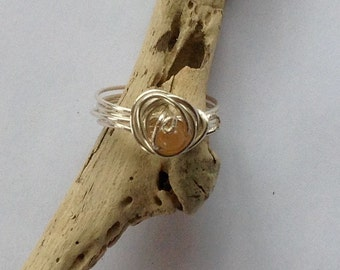 Wire Wrapped Carnelian Ring, Wrapped Ring , Carnelian Ring