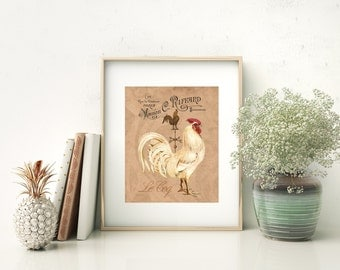 French Country Rooster - Art Print, Rooster Kitchen Decor, French Country Farmhouse Kitchen Decor, Dining Room Art, French Roosters Art