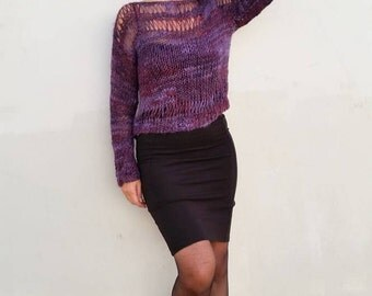 Loose knit sweater, purple sweater, purple knit jumper, loose pullover, hand knit sweater