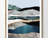 Abstract Landscape Art, Surreal Nature Wall Art, Mountain Print, Geology Art, Scandinavian Print, Arctic Art, Collage // Rock Formations