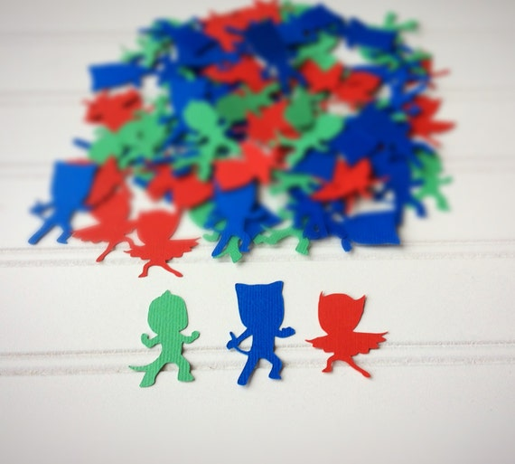 PJ masks Confetti - 3 PJ masks confetti - table decorations - Confetti at Kara's Party Ideas via 2inspiredcrafters