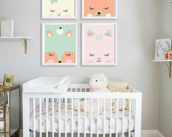 Printable Nursery Art Set of 4 Poster Baby room Wall art Kids room decor Mint and Cat Fox Bear Bunny Print 8x10