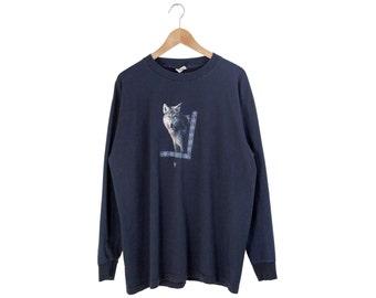 WOLF LONG SLEEVE // wolf long sleeve tshirt / dark blue / grunge / wolves / nature / predator / outdoors / 90s vintage / adult / xl