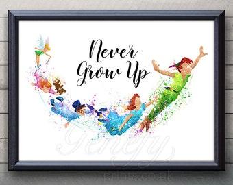 Disney Peter Pan Never Grow Up Quote Watercolor Art Poster Print - Wall Decor - Artwork- Painting - Illustration -Kids Decor - Nursery Decor