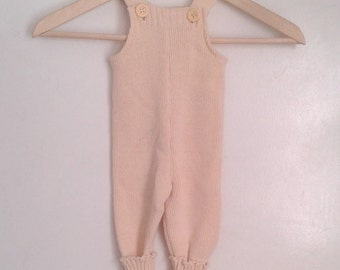 Vintage 1970's Toddlers' French Cream Knit Overalls One Piece Sz 2 Traditional Rustic