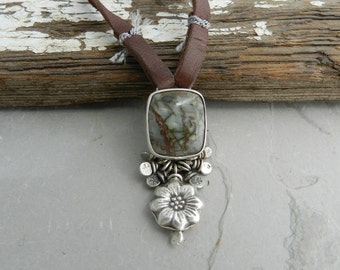 Colorful Blue Gray Brown Jasper Bezel Set Pendant--Dangle, Flower and Leather --Handmade Artisan Jewelry