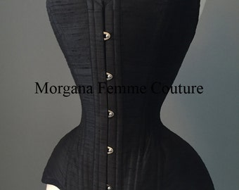 Custom made black silk dupion overbust corset, edwardian shape, waist training corset, tightlacing steel corset