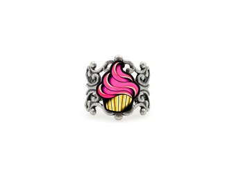 Cupcake Ring - Tattoo Style Sweets - Adjustable Filigree Band