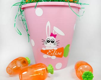 Personalized Easter Baskets, Easter Bucket, Name, Bunny Design