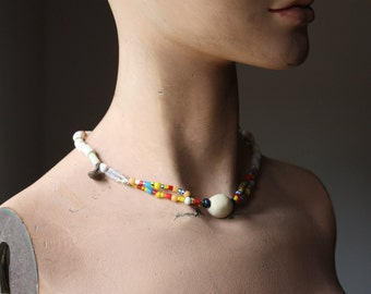 Sun Dog--Artisan Collier Necklace with Porcelain, Lampwork, Bone, on Linen Cord