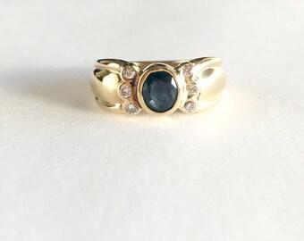 Vintage Sapphire Ring, Diamond Sapphire Vintage Rings, Gold Sapphire Rings, Oval Blue Sapphire Bezel Ring