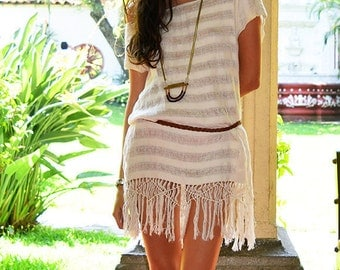 Tribe Tunic  ~ natural écru ~ handloomed ~ knotted & fringed