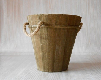 Vintage Wooden Bucket With Rope Handle, Wood Pail, Wooden Planter