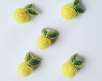 Lemon Drop Felt Flower Hair Clip or Headband