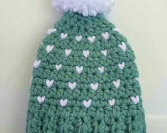 heart pattern cozy beanie