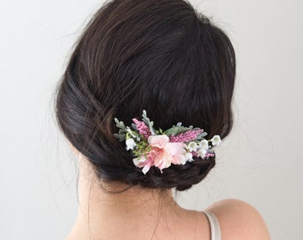 Wedding Flower Comb- Blush Bridesmaids Gift - Wedding Hair Comb- Bridal Floral Comb- Blush Wedding Accessory- Wedding Party- Hair Flowers