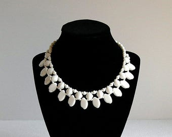 Vintage Mid Century White Milk Glass Double Strand Collar Style Necklace West Germany