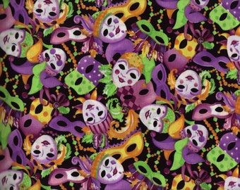 BTY Mardi Gras MASKS Print 100% Cotton Quilt Craft Fabric by the Yard