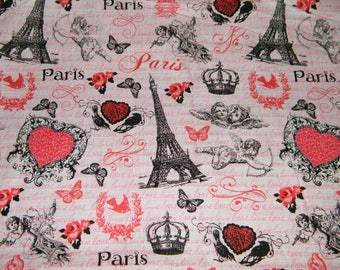 48 Inches VALENTINE'S Day in PARIS - Eiffel Tower Black on Pink Print 100% Cotton Quilt Craft Fabric by the PIECE