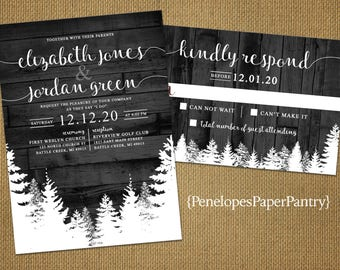 Rustic Winter Wedding Invitation,Gray,Barn Wood,Snow Covered Forest,Snow,Pine Trees,Shimmery,Romantic,Custom,Printed Invitation,Wedding Set
