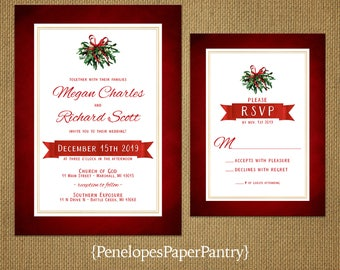Elegant Mistletoe Christmas Wedding Invitation,Red,Green,Gold,Gold Print Border,Shimmery,Romantic,Traditional,Printed Invitation,Wedding Set