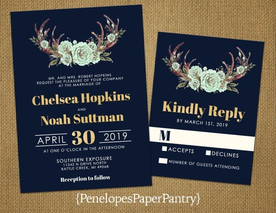 Mint Green And Gold Wedding Invitations: Items Similar To Rustic Navy Wedding Invitation,Floral